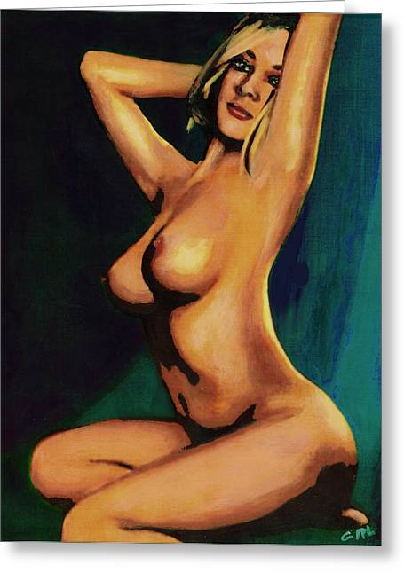 Original Fine Art Female Nude Painting Seated 7c Mods1c Greeting Card