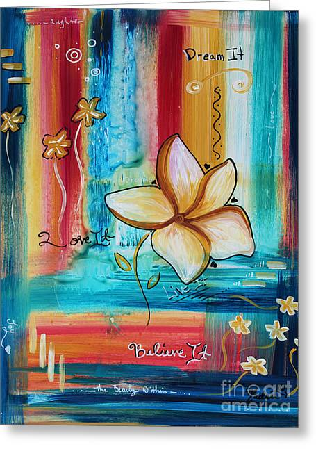Original Inspirational Uplifting Floral Painting Inspiring Quote By Megan Duncanson Greeting Card
