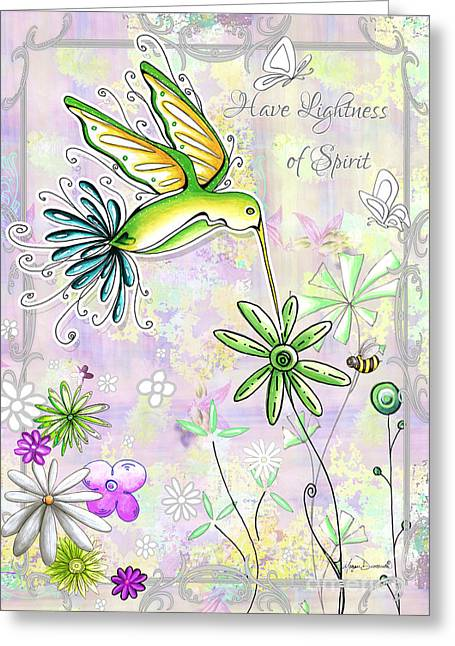 Original Inspirational Uplifting Hummingbird Floral Painting Art Quote Design By Megan Duncanson Greeting Card by Megan Duncanson