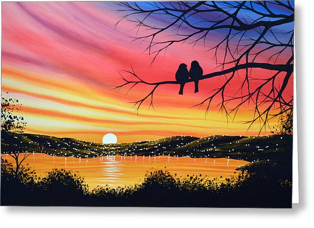 Original Landscape Art Birds Painting ... Alone Now Greeting Card by Amy Giacomelli