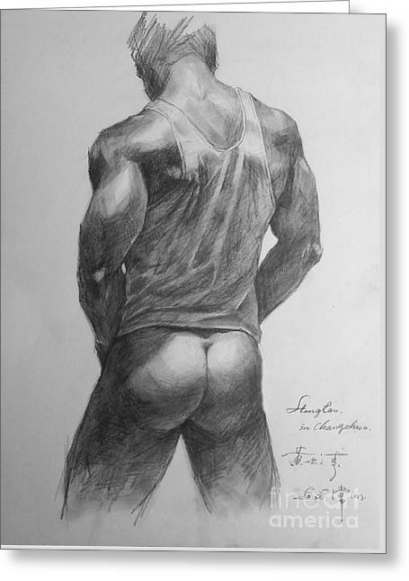 Original Man Gay Pencil Drawing Sketch Art On Peper By Hongtao Greeting Card