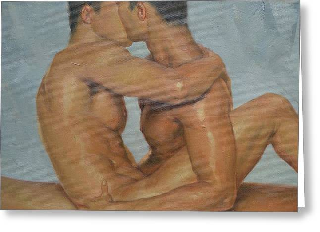 Original Man Oil Painting Gay Body Art- Two Male Nude On Canvas Greeting Card