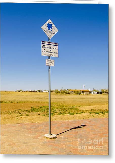 Original Midpoint Of Route 66 Signs In Adrian Texas Greeting Card