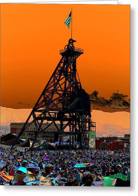 Greeting Card featuring the photograph Original Mine Yard Montana Folk Festival 2013 by Kevin Bone