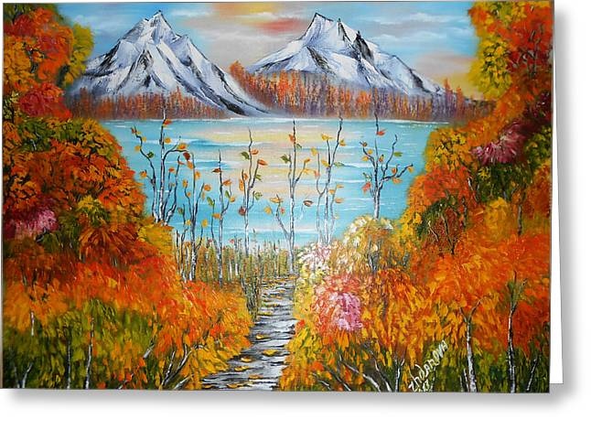 Original Modern Oil Painting Autumn Sunset In Mountains 2 Landscape Palette Knife In Style Impressi Greeting