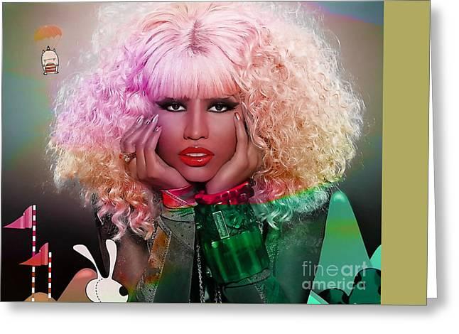 Original Nicki Minaj  Greeting Card by Marvin Blaine