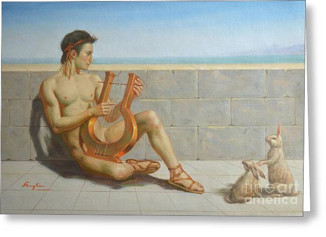 Original Oil Painting Gay Man Art-male Nude And Rabbit#16-02-5-41 Greeting Card