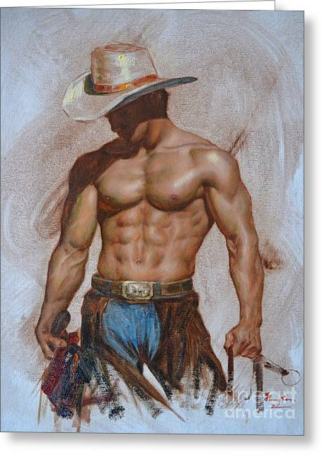 Original Oil Painting Gay Man Body Art-cowboy#16-2-5-19 Greeting Card