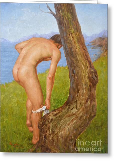 Original Oil Painting Man Body Art Male Nude-029 Greeting Card