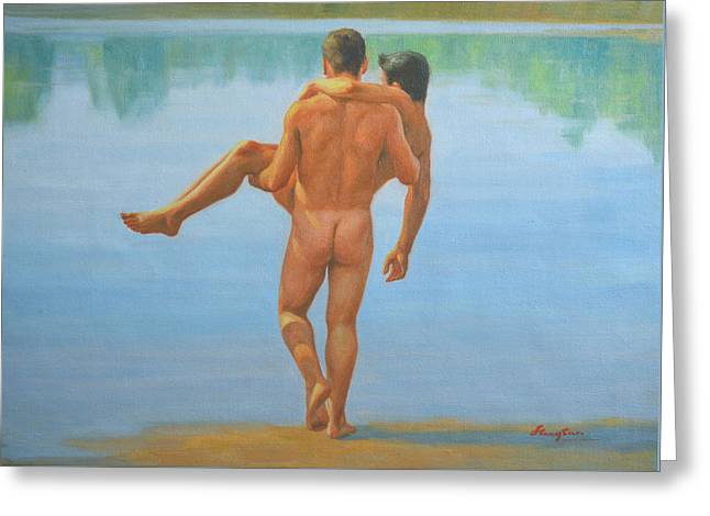 Original Oil Painting Man Body Art -male Nude By The Pool -073 Greeting Card