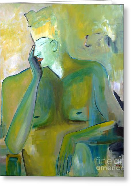 Original Painting Green Figurative Man Portrait Abstract Unique Decorative Abstract Art Reproduction Greeting Card by Marie Christine Belkadi