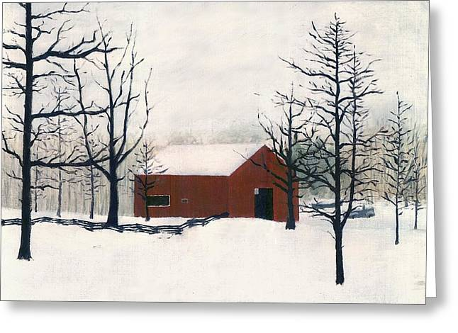 Original Painting Red Barn Snow Maryland Greeting Card