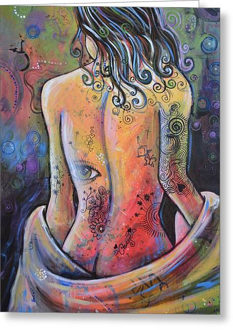 Original Painting Woman Art Art Print ... The Company You Keep Greeting Card