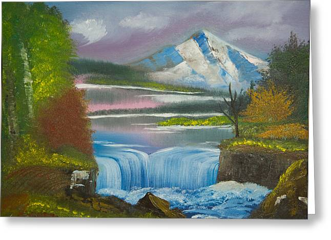 Original Peaceful Landscape Oil Painting---snow Mountain With Waterfall Of Autumn Gloaming Greeting Card by Laura SONG