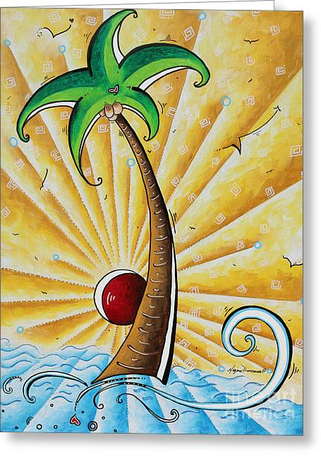 Original Pop Art Tropical Palm Tree Painting In The Tropics By Megan Duncanson Greeting Card by Megan Duncanson