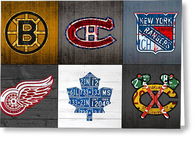 Original Six Hockey Team Retro Logo Vintage Recycled License Plate Art Greeting Card by Design Turnpike