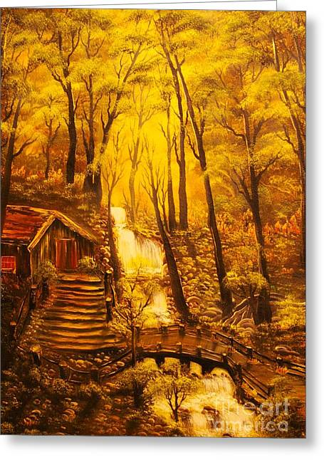 Tranquil Cottage Stream- Original Sold -buy Giclee Print Nr 38 Of Limited Edition Of 40 Prints  Greeting Card