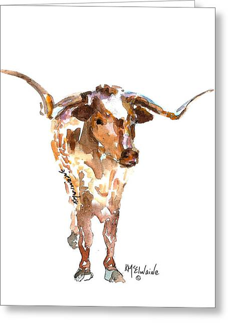 Original Longhorn Standing Earth Quack Watercolor Painting By Kmcelwaine Greeting Card by Kathleen McElwaine