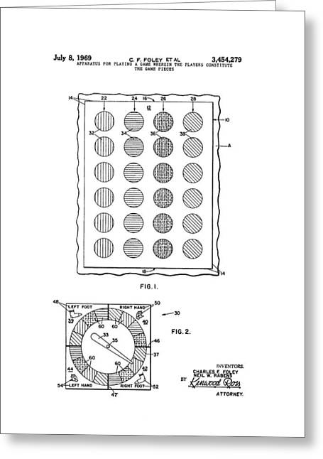 Original Twister Game Patent Greeting Card by Dan Sproul
