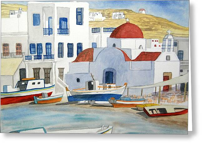 Watercolor - Mykonos Greece Detail Greeting Card