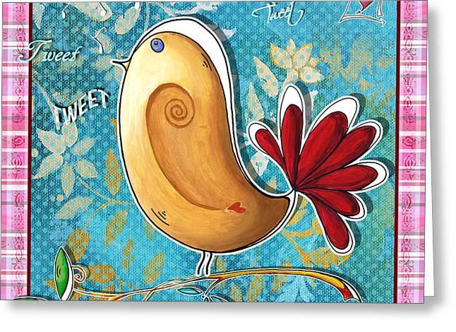 Original Whimsical Fun Bird Painting Contemporary Art By Megan Duncanson Greeting Card by Megan Duncanson