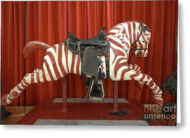 Original Zebra Carousel Ride Greeting Card by L Wright