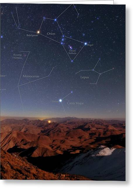 Orion And Sirius Over Iran Greeting Card by Babak Tafreshi/science Photo Library