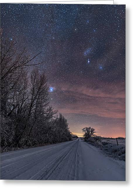 Orion Down The Snowy Road Greeting Card by Alan Dyer