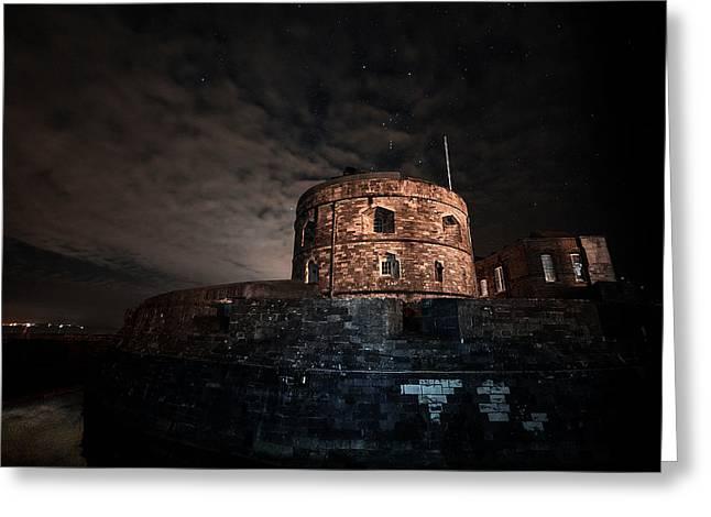 Orion Over Calshot Castle Greeting Card by Chris Nesbit