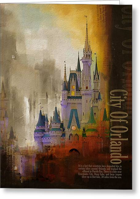 Orlando City Collage  Greeting Card by Corporate Art Task Force