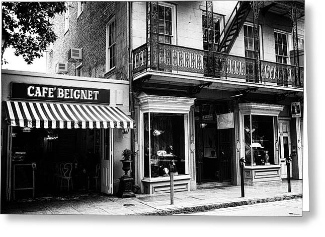 Orleans Cafe Noir Greeting Card by John Rizzuto
