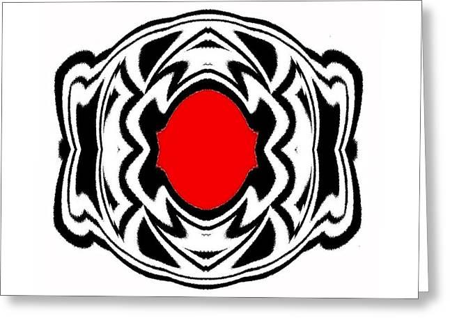 Ornament Black White Red Geometric Art No.119. Greeting Card