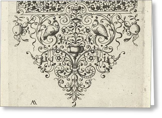 Ornament Featuring Flowers And Two Birds Greeting Card by Laurent Jansz Micker And Anonymous