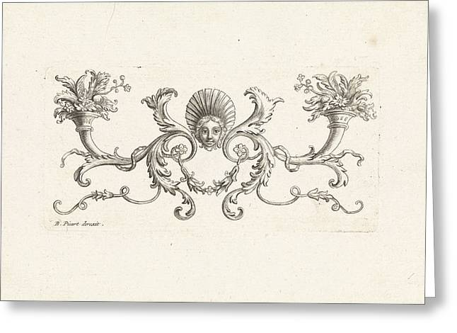 Ornament With A Mascaron Surrounded By Foliate Scrolls Two Greeting Card by Bernard Picart