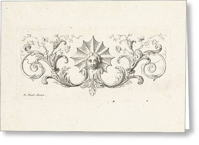 Ornament With A Mascaron Surrounded By Leafs Greeting Card by Bernard Picart