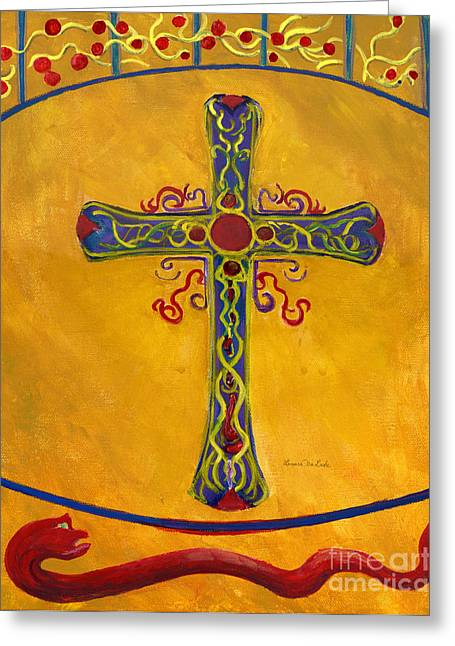 Ornamental Cross And Snake  Greeting Card