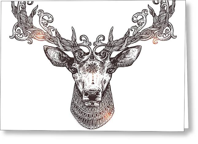 Ornamental Tattoo Deer Head. Highly Greeting Card