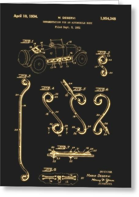 Ornamentation For An Automobile Body Patent 1934 Greeting Card