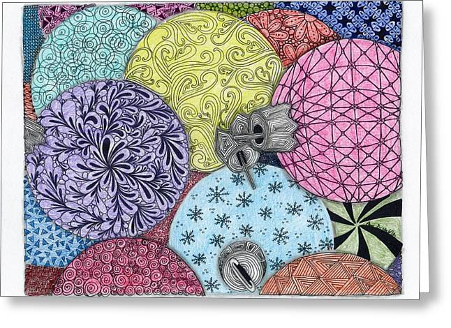 Ornaments Galore In Color Greeting Card by Paula Dickerhoff