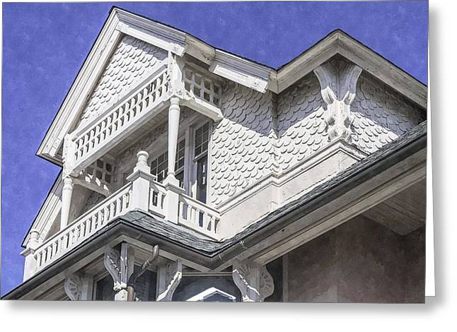 Ornate Balcony With View Greeting Card by Lynn Palmer