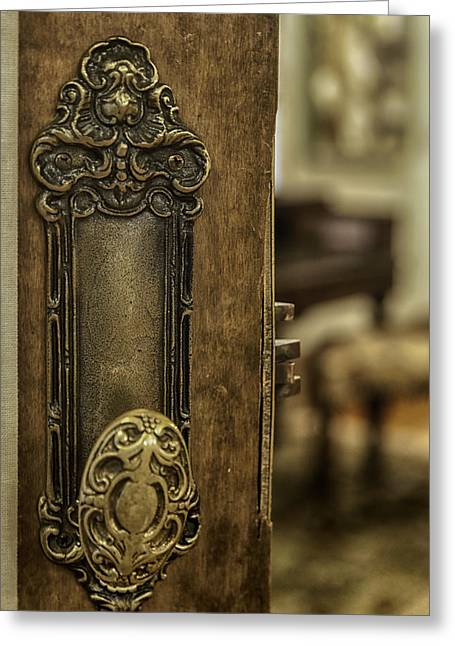 Ornate Brass Doorknob Greeting Card by Lynn Palmer