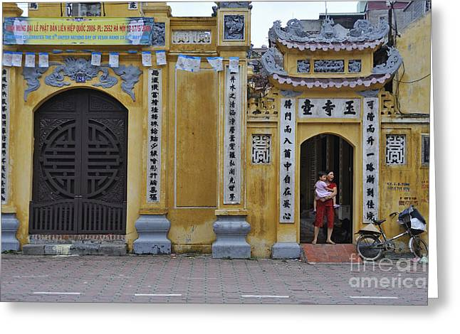 Ornate Buildings In The City Centre Of Hanoi Greeting Card