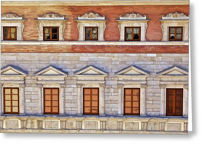 Ornate Carved Stone Windows Of A Government Building In Tuscany Greeting Card by David Letts