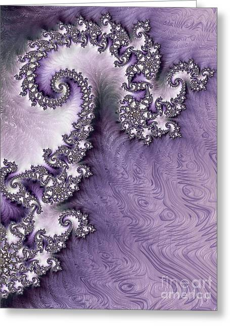 Ornate Lavender Fractal Abstract One  Greeting Card by Heidi Smith