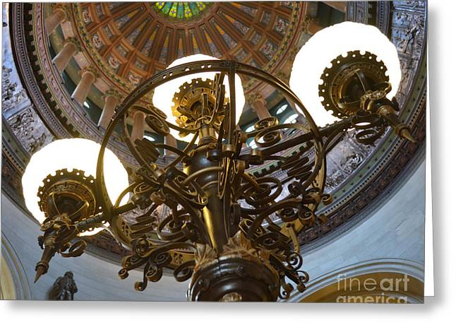 Ornate Lighting - Sprngfield Illinois Capitol Greeting Card by Luther Fine Art