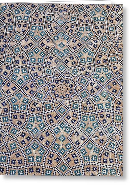 Ornate Majolica At The Abdullah Khan Medressa In Bukhara Uzbekistan Greeting Card