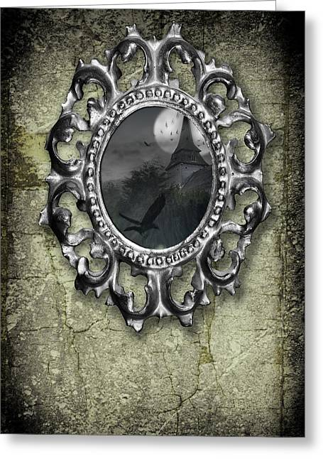 Ornate Metal Mirror Reflecting Church Greeting Card by Amanda Elwell