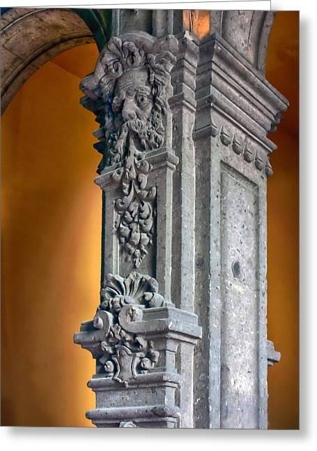 Ornate Mexican Stone Column Greeting Card by Lynn Palmer