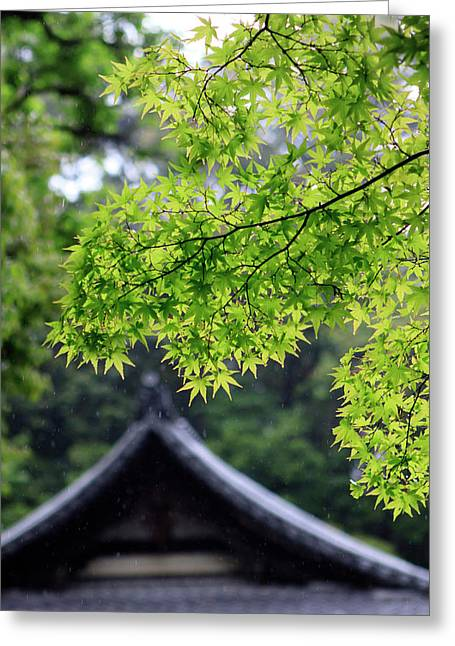 Ornately Designed Roof And Japanese Greeting Card by Paul Dymond