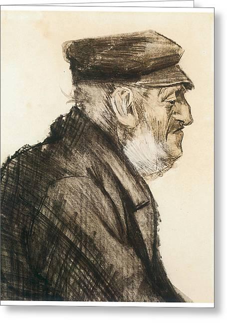 Orphan Man Bust-length Greeting Card by Vincent van Gogh